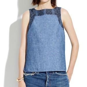 Madewell Denim Linen Style Top Size S